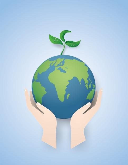 O conceito da terra verde salvar o mundo. Vetor Premium