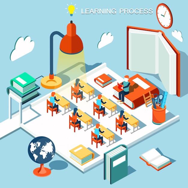 O conceito de aprendizagem, ler livros na biblioteca, design plano isométrico de sala de aula Vetor Premium