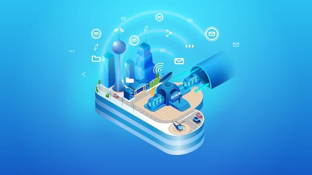 O conceito de cidade de nuvem inteligente inteligente Vetor Premium