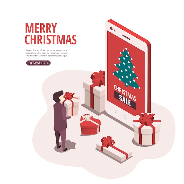 O conceito de comprar presentes de natal através de um aplicativo móvel. Vetor Premium