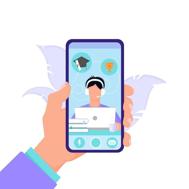 O conceito de educação on-line e ensino a distância a partir do telefone para estudantes e estudantes. mão segura o telefone em um fundo branco isolado em estilo simples. projeto de ilustração. Vetor Premium