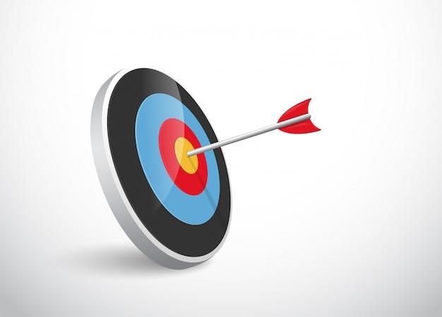 O conceito do sucesso da flecha se curva para o alvo. Vetor Premium