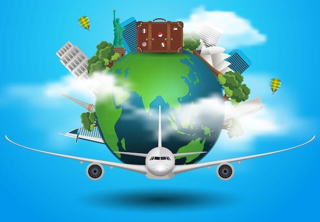 O conceito viaja pelo mundo nos aviões Vetor Premium