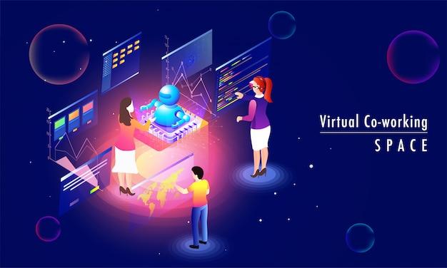 O conceito virtual do espaço do trabalho de trabalho baseou o projeto da página da aterrissagem. Vetor Premium
