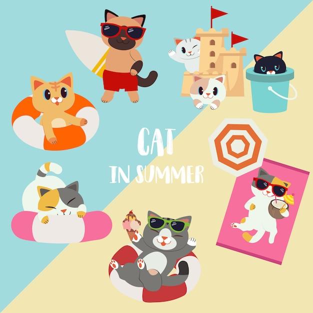 O conjunto de coleta de gato de desenho animado de caractere no pacote de tema de verão. um gato segurando uma prancha de surf. um gato brincar com castelo de areia e tanque. gato use um anel de vida. e estava tomando sol. Vetor Premium
