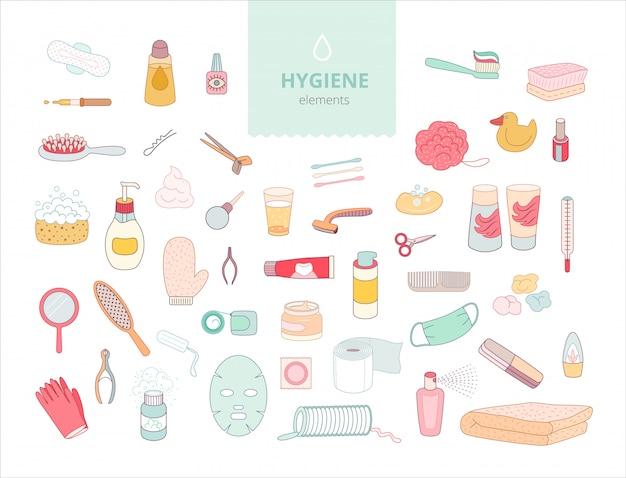 O conjunto de elementos de higiene no fundo branco, Vetor Premium