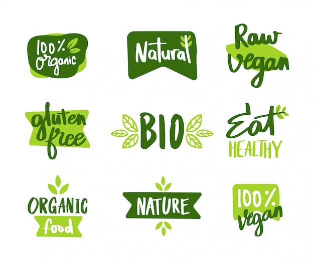 O conjunto de rótulo vegano e ecológico Vetor Premium