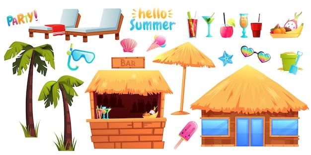 O conjunto de verão de objetos e móveis Vetor Premium