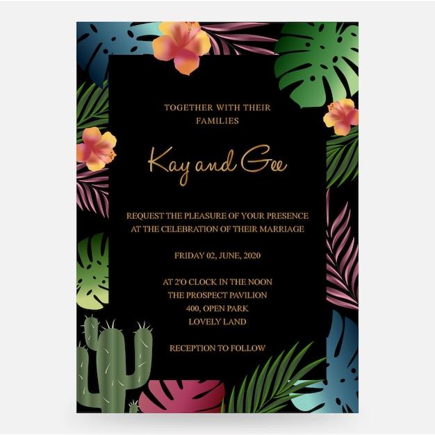O convite do casamento, floral convida obrigado, molde moderno do projeto do cartão do rsvp Vetor Premium