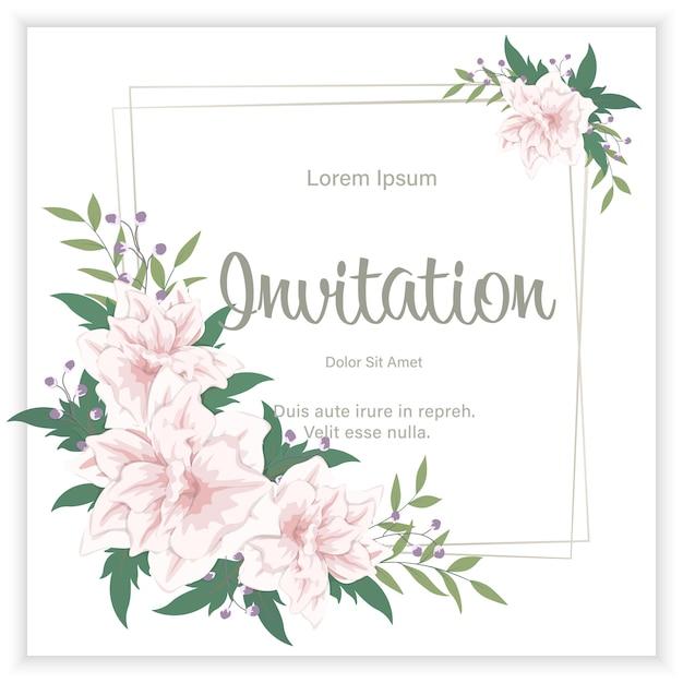 O convite floral do casamento elegante convida o design de cartão. quadro de flores e folhas Vetor Premium