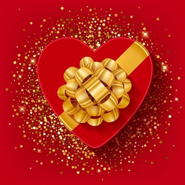O coração dos valentim do st deu forma à caixa de presente com fita e curva do ouro. Vetor Premium