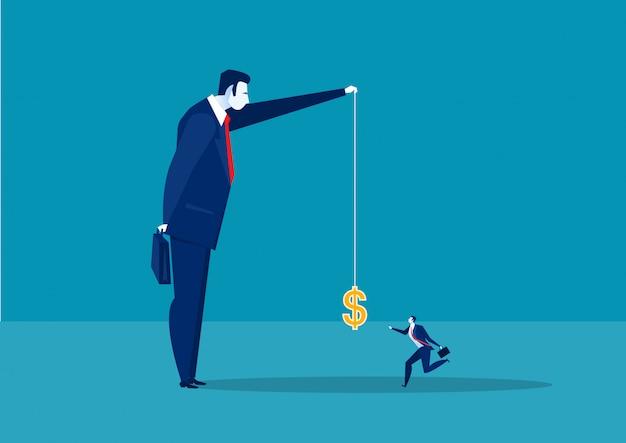 O corredor do homem de negócios trava um dólar colocado em um gancho, ilustração do conceito de renda ativa. Vetor Premium