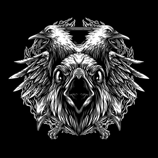 O corvo remasterizado ilustração preto e branco Vetor Premium