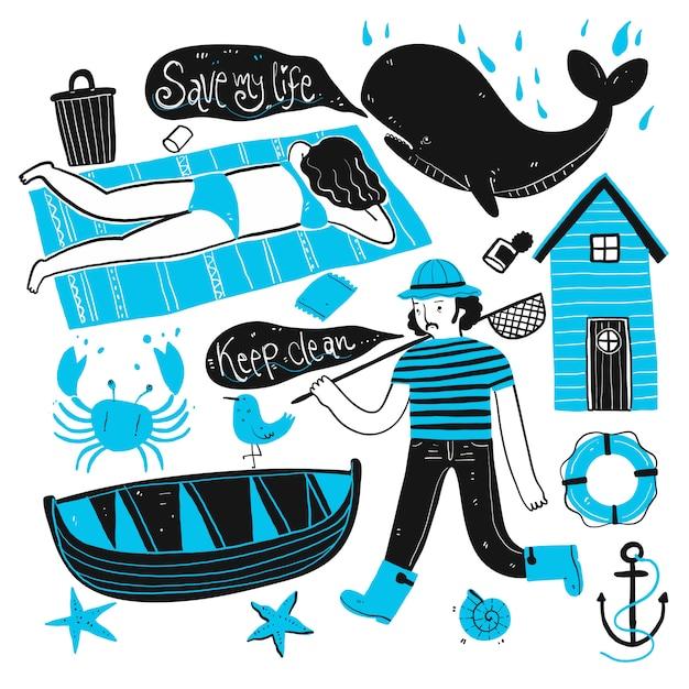 O cotidiano dos pescadores e turistas na praia. coleção de mão desenhada, ilustração vetorial no estilo de desenho sketch. Vetor Premium