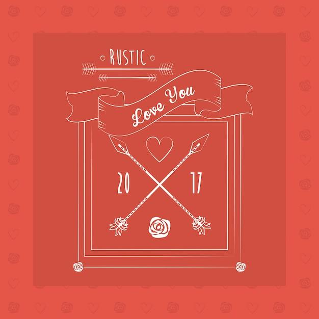 O cumprimento rústico ama você cartão com a imagem da fita da flor das setas Vetor Premium