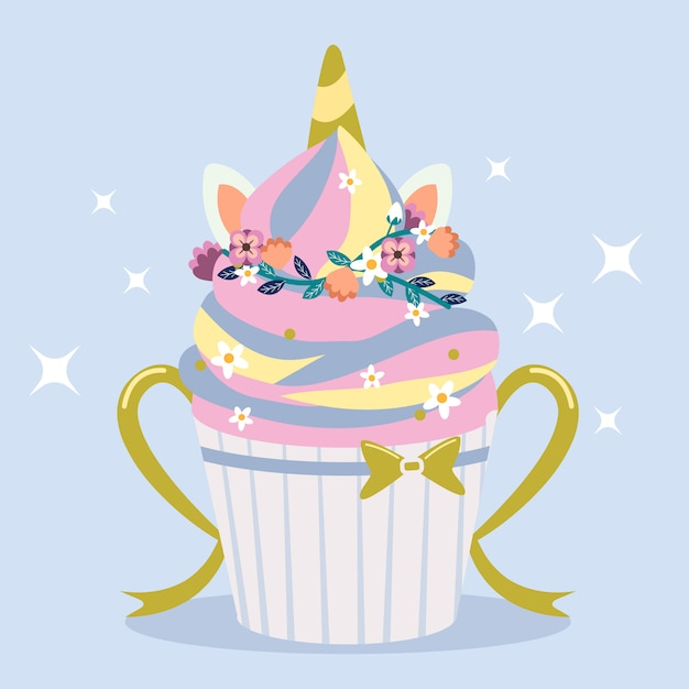 O cupcake fofo de estilo unicórnio arco-íris com anel de flor Vetor Premium