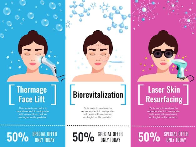 O desconto do tratamento de rejuvenescimento da cosmetologia oferece propaganda horizontal plana com lifting facial isolado Vetor grátis