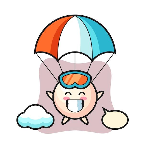 O desenho da mascote da pérola está a saltar de pára-quedas com um gesto feliz Vetor Premium