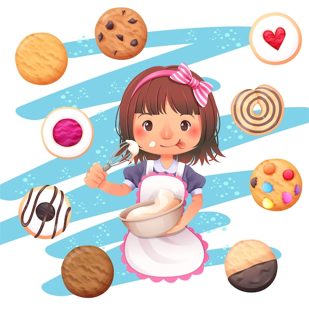 O desenho de personagem de menina e o vetor de cookies Vetor Premium