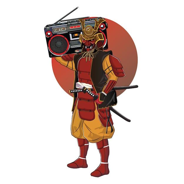 O desenho de um samurai trouxe um boombox Vetor Premium