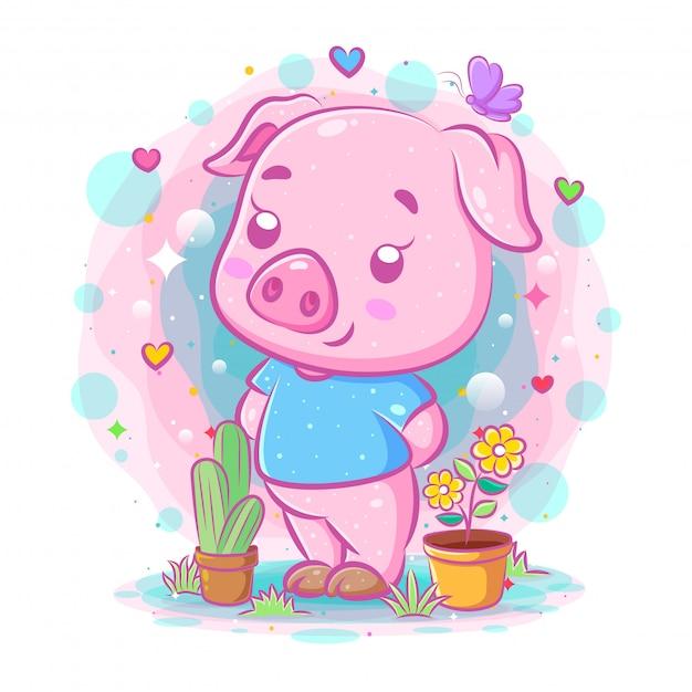 O desenho do porco roxo fica perto das flores da ilustração Vetor Premium