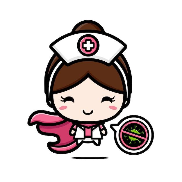 O design da enfermeira é um herói com um símbolo de parada de vírus Vetor Premium
