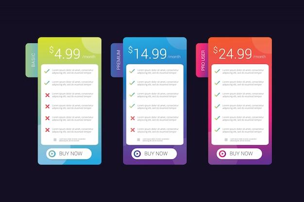 O design da tabela de preços com gradiente de cor vibrante é bom para o elemento ui ux do modelo de site Vetor Premium