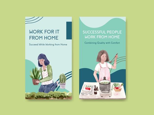 O design do modelo do instagram com as pessoas está trabalhando em casa e cozinhando, no jardim. ilustração em vetor em aquarela conceito escritório em casa Vetor grátis