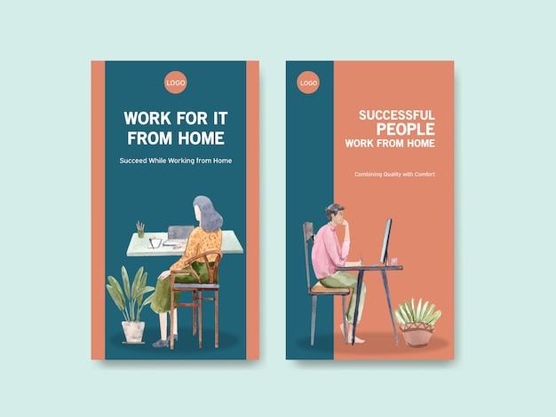 O design do modelo do instagram com as pessoas está trabalhando em casa, pesquisando na internet. ilustração em vetor em aquarela conceito escritório em casa Vetor grátis