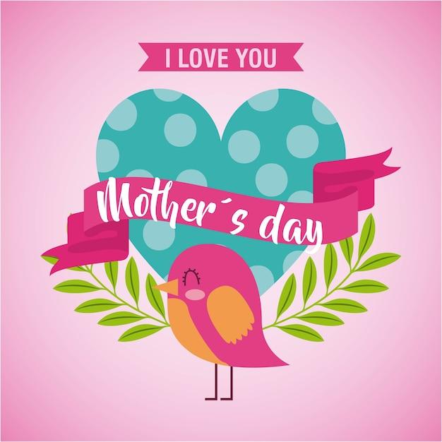 O dia das mães te ama cartão Vetor Premium