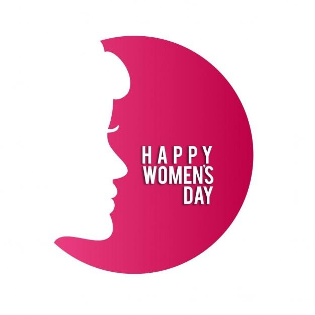 O dia das mulheres felizes com as mulheres enfrentam no círculo vermelho Vetor grátis
