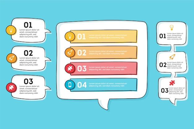 O discurso desenhado à mão borbulha infográficos Vetor Premium