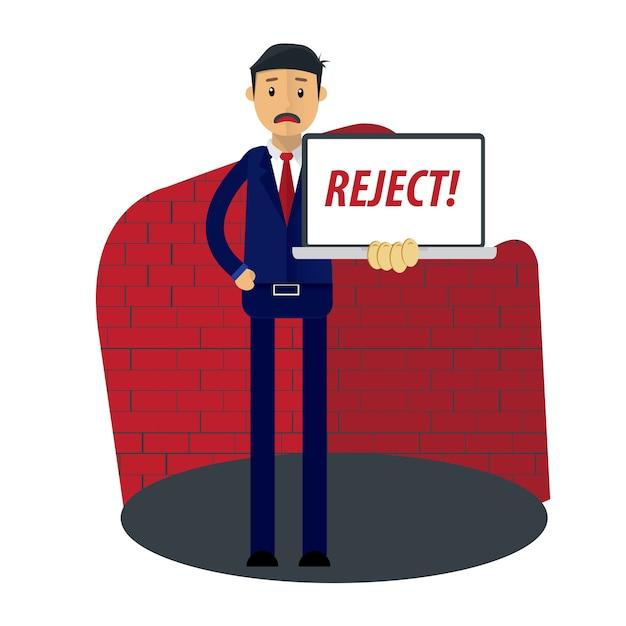 O documento do empresário recebe a rejeição Vetor Premium