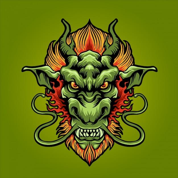 O dragão da terra verde Vetor Premium
