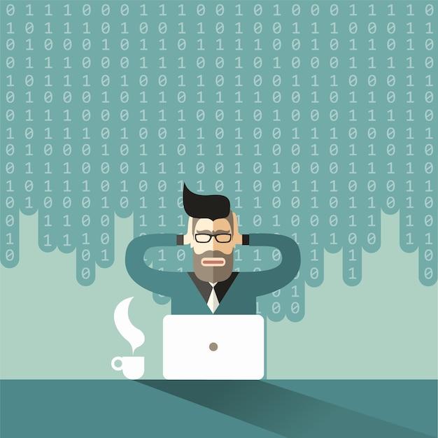 O economista cientista barbudo e de óculos embreagem sua cabeça hipster sob a avalanche de big data Vetor Premium