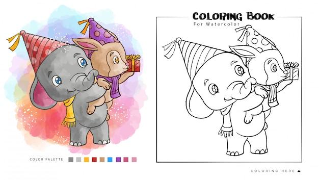 O elefante bonito leva um guaxinim vai à festa de anos. ilustração dos desenhos animados para livro de colorir em aquarela Vetor Premium