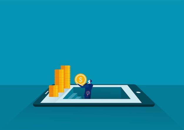 O empresário conseguiu moedas por descoberta no tablet, conceito de situação empresarial para encontrar dinheiro, design plano Vetor Premium