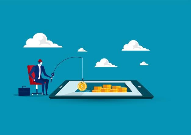 O empresário conseguiu um saco de dinheiro pescando no tablet, situação empresarial, encontrando o conceito de dinheiro, design plano Vetor Premium