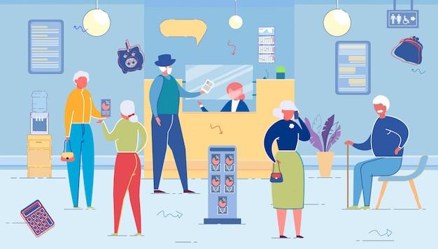O escritório do banco com funcionários serve clientes seniores. Vetor Premium