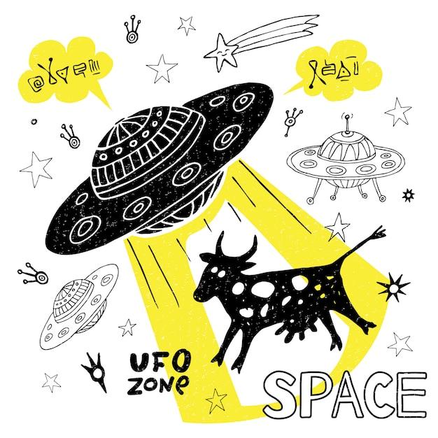 O espaço engraçado da vaca do rapto do ufo stars a nave espacial. bonito desenho legal estilo moda esporte letras doodles mensagem. desenhado à mão Vetor Premium