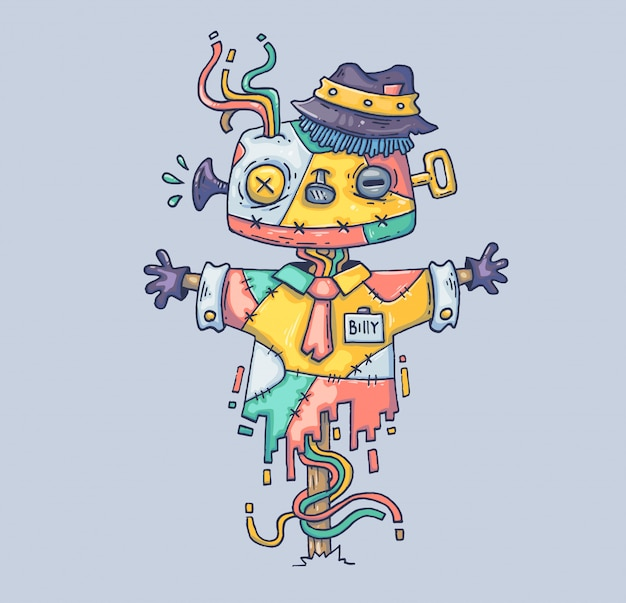 O espantalho mágico no chapéu. ilustração dos desenhos animados personagem no moderno estilo gráfico. Vetor Premium