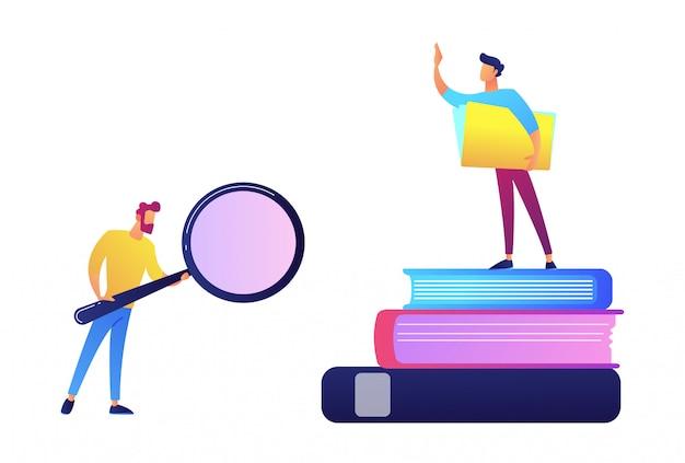 O estudante com lente de aumento e o estudante que estão na pilha de livros vector a ilustração. Vetor Premium