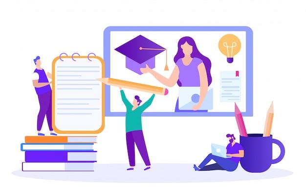 O estudante escreve resumo. palestra online. ensino à distância. lição online. e-learning Vetor Premium