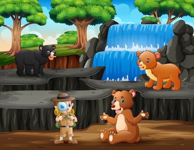 O explorador com ursos na natureza Vetor Premium