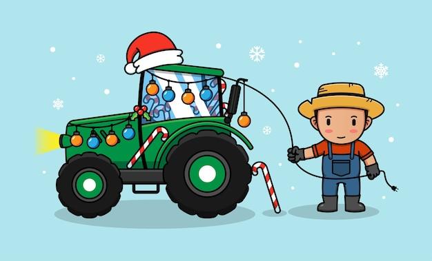 O fazendeiro decora seu trator para o natal Vetor Premium