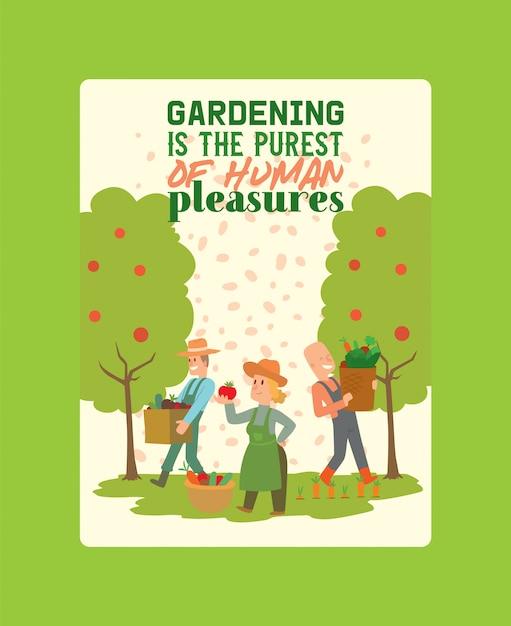 O fazendeiro que escolhe a colheita vegetal às cestas e às caixas vector a ilustração do cartaz. personagem feminina e masculina, colheita da terra. Vetor Premium