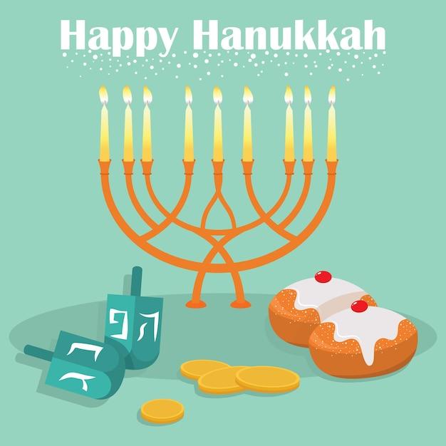 O feriado judaico de hanukkah. Vetor Premium