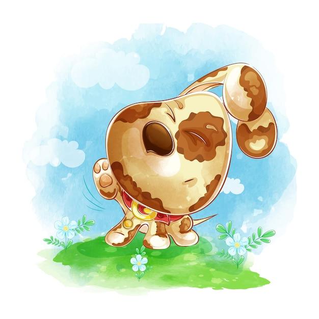 O filhote de cachorro engraçado coça sua pata traseira em um prado verde com flores. Vetor Premium