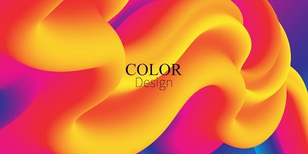 O fluxo de fluido. respingo de tinta. cor líquida. forma fluida. fluxo abstrato. cor vibrante. cartaz da moda. gradiente colorido. tinta na água. onda. cores fluidas. forma líquida. onda de fluxo. Vetor Premium