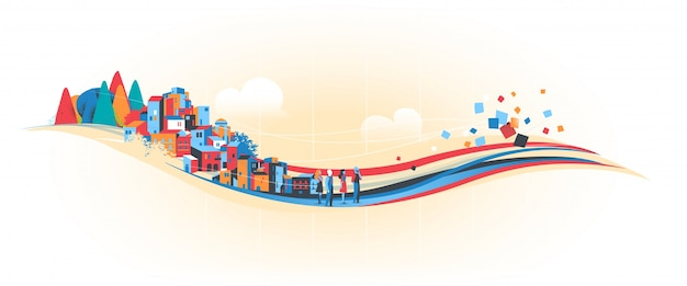 O fluxo do progresso humano e ambiental Vetor Premium